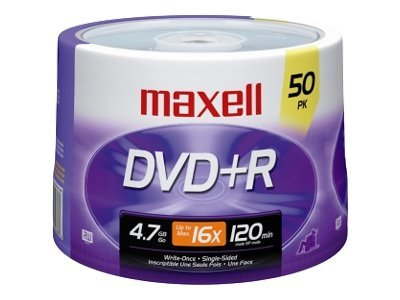 Maxell 16x 4.7GB DVD+R Media (50-pack Spindle), 639013, 6766648, DVD Media