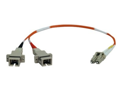 Tripp Lite Fiber Adapter Cable, LC-SC (M-F), 50 125, Duplex, Multimode, 1ft, N458-001-50, 7158185, Adapters & Port Converters