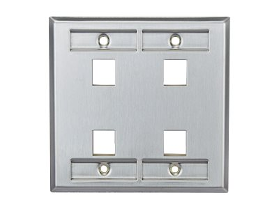 Leviton Wall Plate 4-Port DG ID SS, 43080-2L4, 17751038, Premise Wiring Equipment