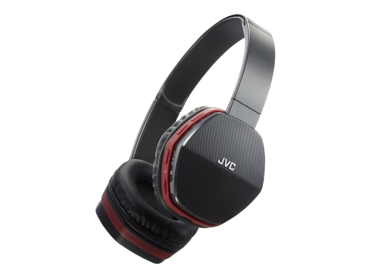 JVC On Ear Bluetooth Swivel 30mm Wireless Headset - Black w  Red Trim, HASBT5R
