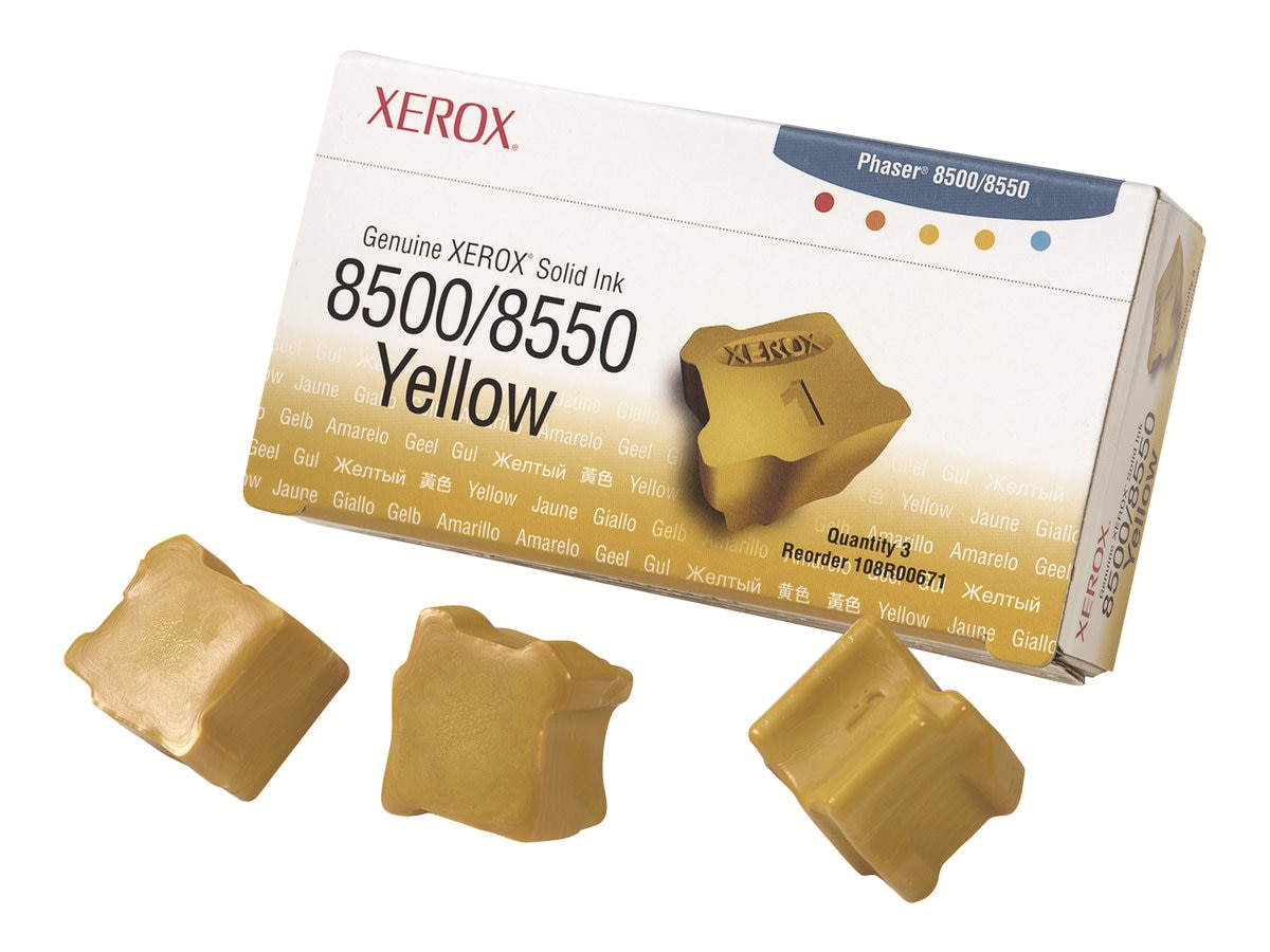 Xerox Yellow Solid Ink Sticks for Phaser 8500 & 8550 Printers (3-pack), 108R00671, 5879229, Toner and Imaging Components
