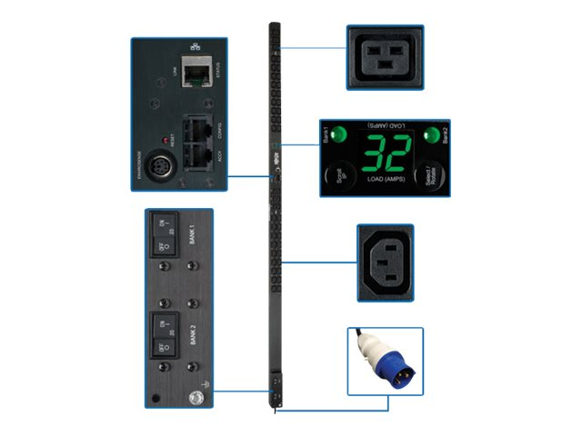 Tripp Lite Monitored PDU 7.4kW 230V 32A 1-phase 0U RM IEC-309 32A Blue 2P+E Input Plug (36) C13 (6) C19 Outlets, PDUMNV32HV2, 17232203, Power Distribution Units