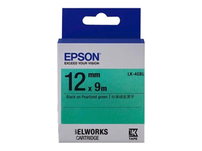 Epson 1 2 LabelWorks Pearlized LK Tape Cartridge - Black on Pearlized Green, LK-4GBL