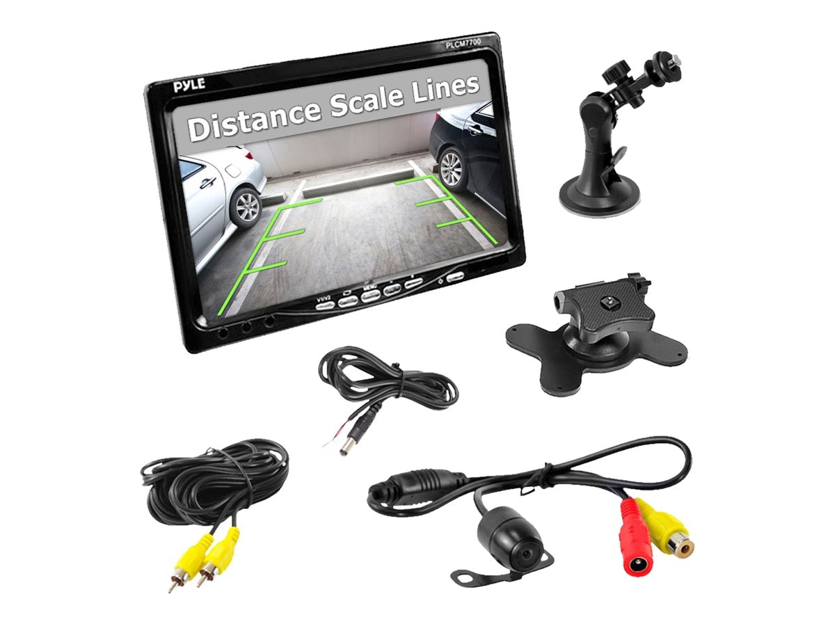 Pyle 7 Window Suction Mount LCD Video Monitor with Universal Mount Rearview, Backup Color Camera, PLCM7700, 17436071, Cameras - Security