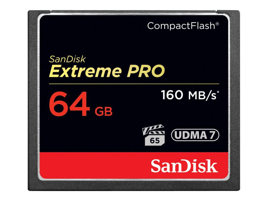 SanDisk 64GB CompactFlash Extreme Pro Memory Card, SDCFXPS-064G-A46, 16153634, Memory - Flash