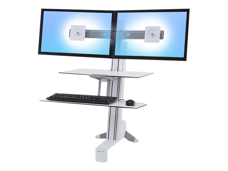 Ergotron WorkFit-S Dual Monitor with Worksurface+, White, 33-349-211, 27125102, Stands & Mounts - AV