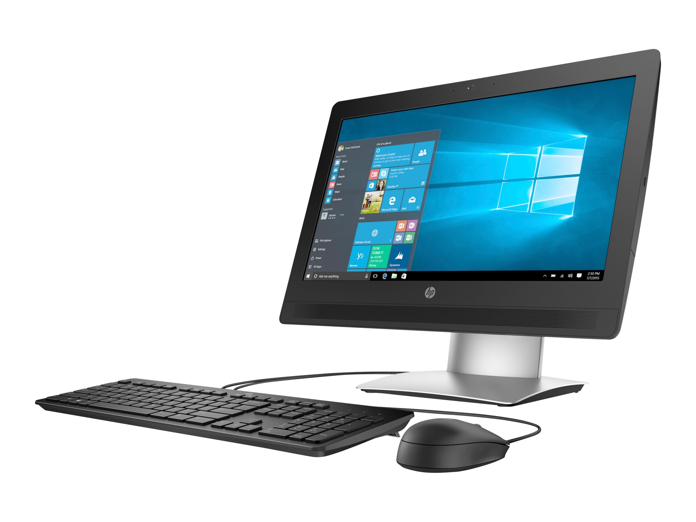 HP ProOne 400 G2 AIO Core i3-6100 3.7GHz 4GB 500GB DVD-RW GbE n BT WC 20 HD Touch W7P64-W10P, P5U58UT#ABA, 30917258, Desktops - All-in-One