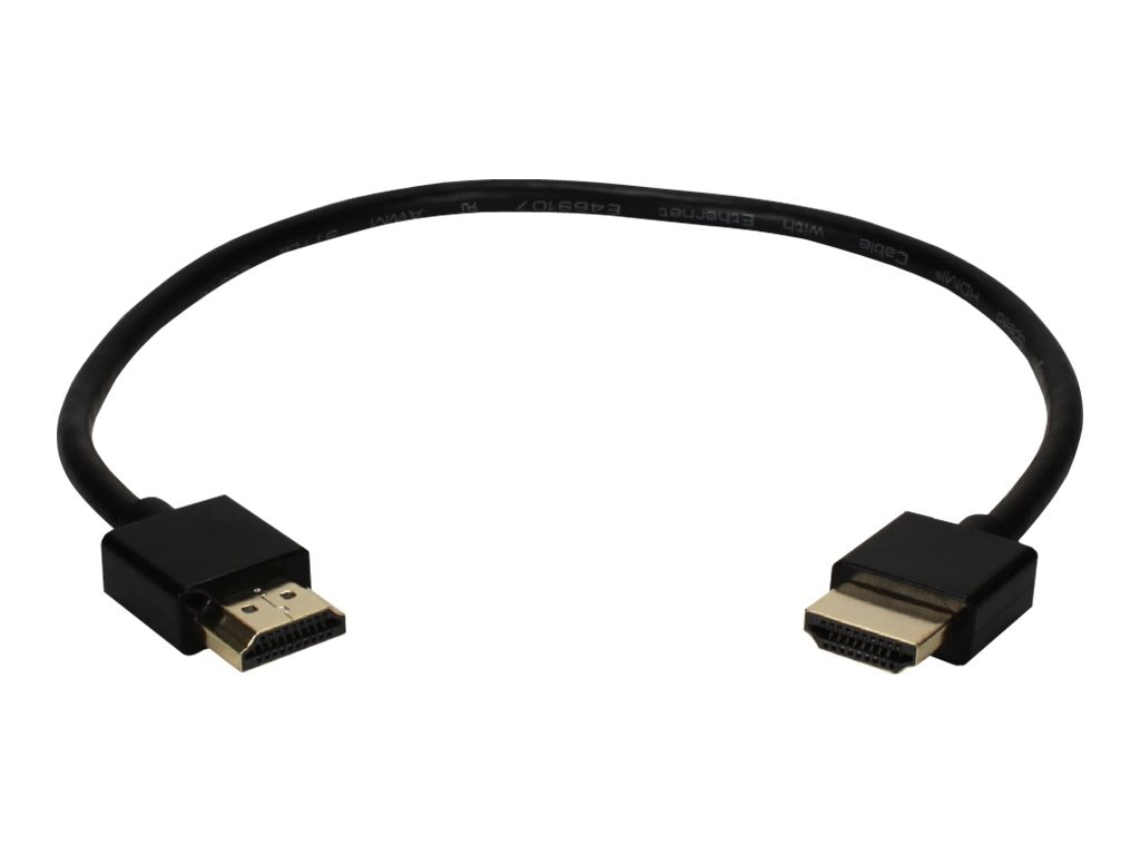 QVS High Speed HDMI M M Ultra HD 4K with Ethernet Thin Flexible Cable, Black, 1ft