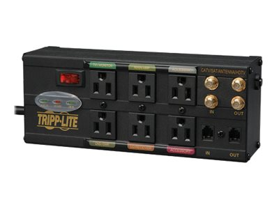 Tripp Lite Ultimate Protection Isobar Audio Video Surge Suppressor 2784 Joules (6) Outlets Tel HD Coax, AVBAR6, 10140171, Surge Suppressors
