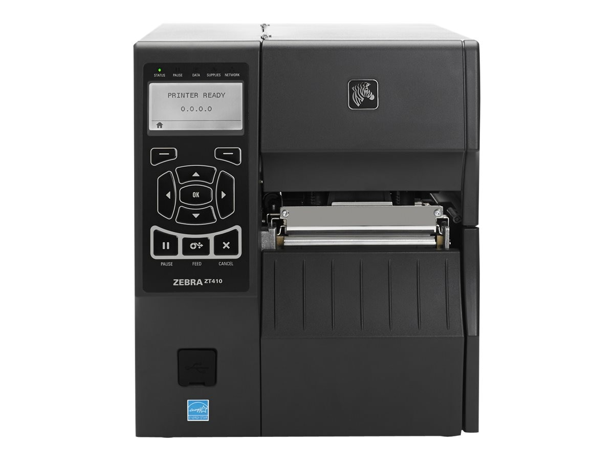 Zebra ZT410 TT 600dpi Serial USB Ethernet BT MFI USB Host EZPL Printer w  Peeler & Full Rewind, ZT41046-T410000Z