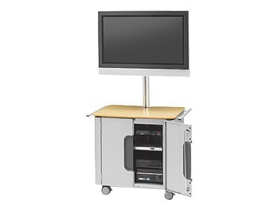 Bretford Manufacturing Cabinet Cart for Flat Panels 32-50in, FPPC72V200-AL-469(ALUM/W IRON), 9100260, Stands & Mounts - AV