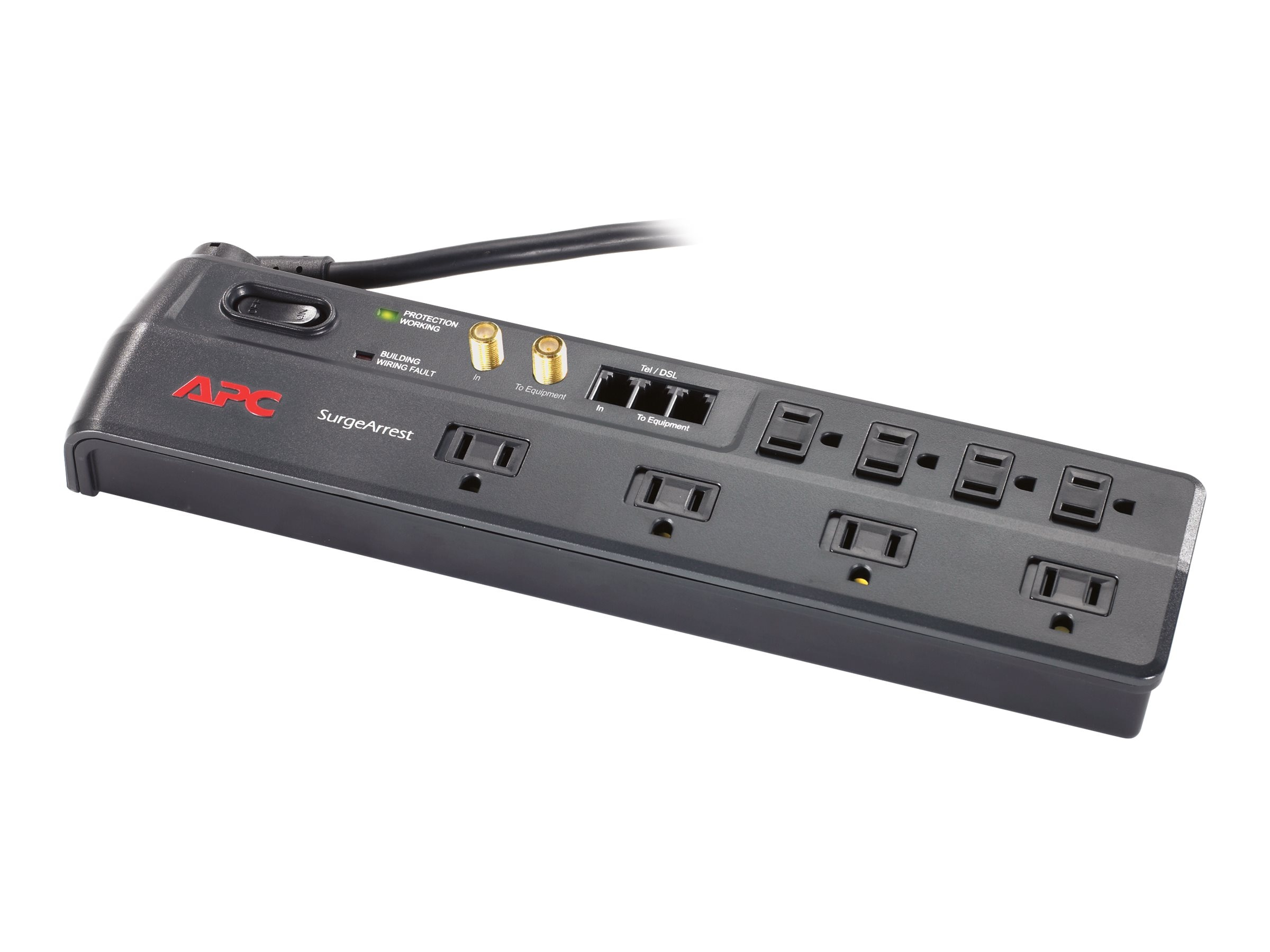 APC Home Office SurgeArrest w Telephone Splitter, Coax Jacks, 8 Outlets, P8VT3, 8341256, Surge Suppressors