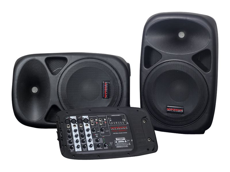Nady Portable Compact PA System w  (2) Wireless Speakers, 150W Power Mixer & US SD BT, PAS-300BT, 18791699, Music Hardware