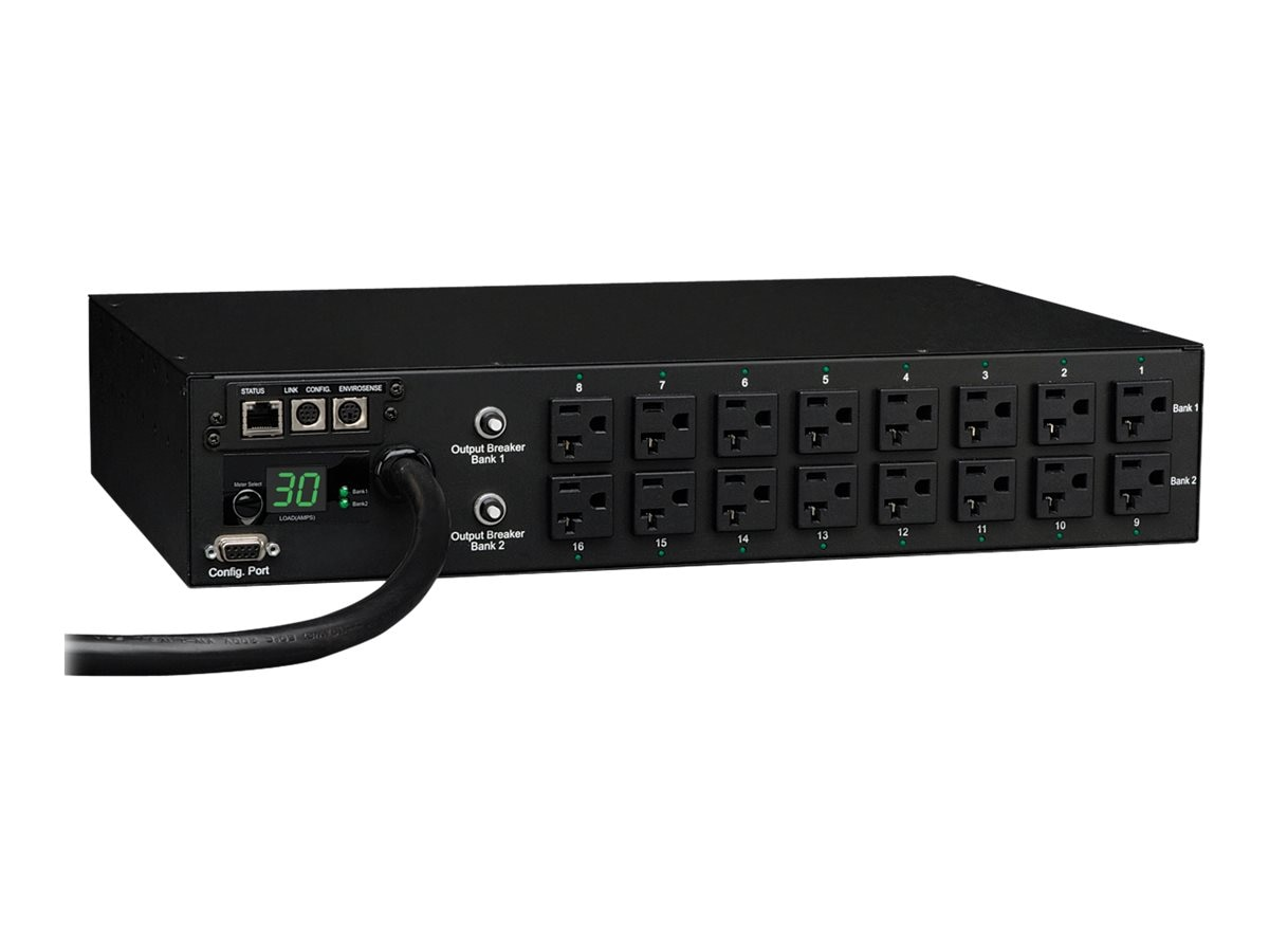 Tripp Lite PDU Switched 120V 30A 5-15 20R (16) Outlet L5-30P Horizontal 2U RM, PDUMH30NET, 8326355, Power Distribution Units