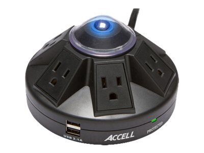 Accell Powramid Power Center & Surge Protector (6) Outlets 4ft Cord, Black
