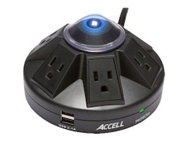 Accell Powramid Power Center & Surge Protector (6) Outlets 4ft Cord, Black, D080B-013K, 32429346, Surge Suppressors