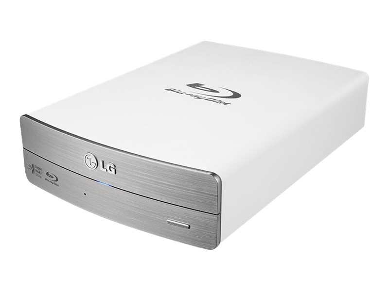 LG 16X BD-RW MDisc USB External Drive - White Silver w  Software & AC Adapter (Retail), BE16NU50