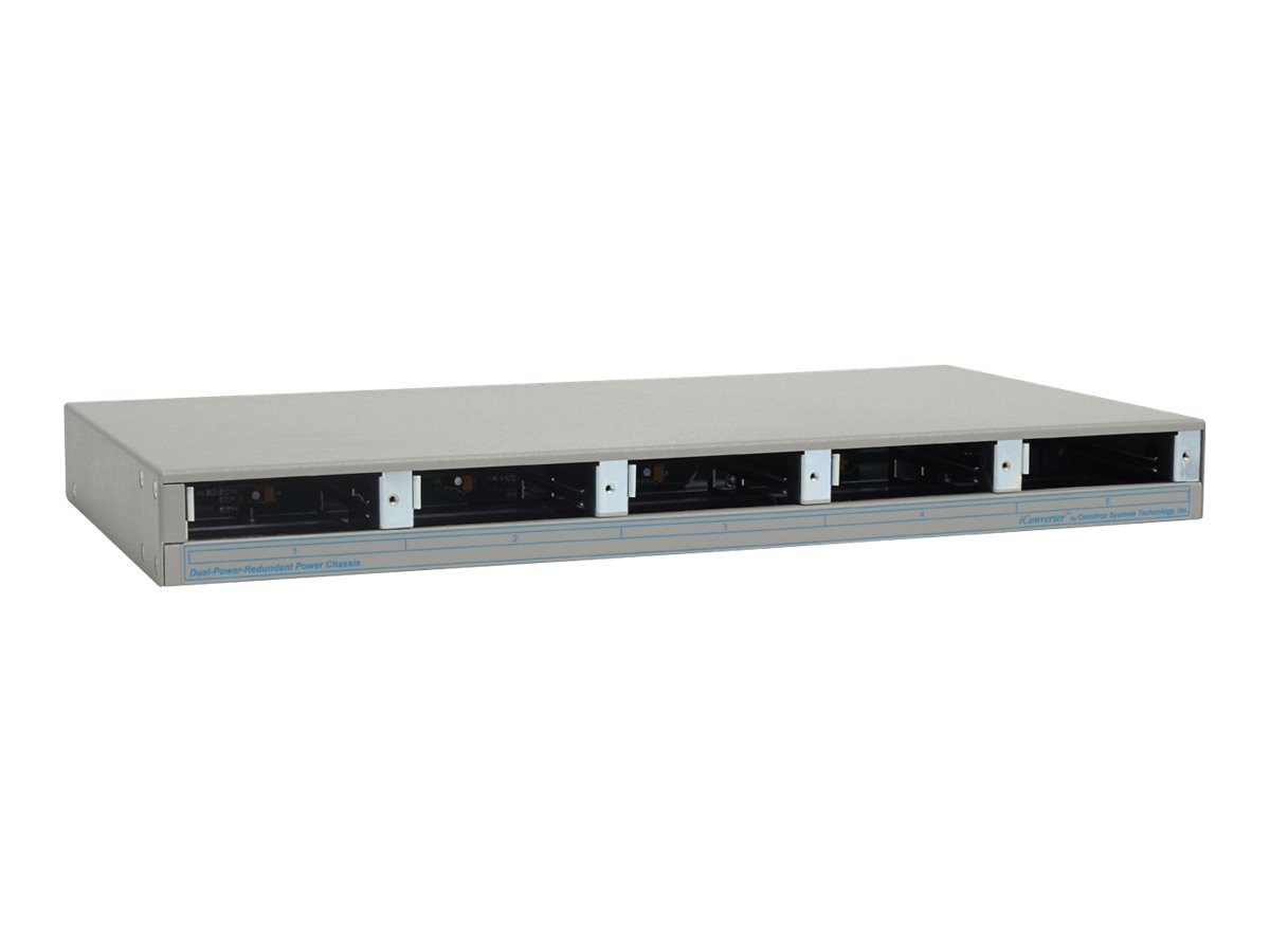 Omnitron iConverter 5-Module AC Chassis with 2 Hi-Flow Universal AC PS Wide Temp, 8221-2-W, 17066196, Network Transceivers