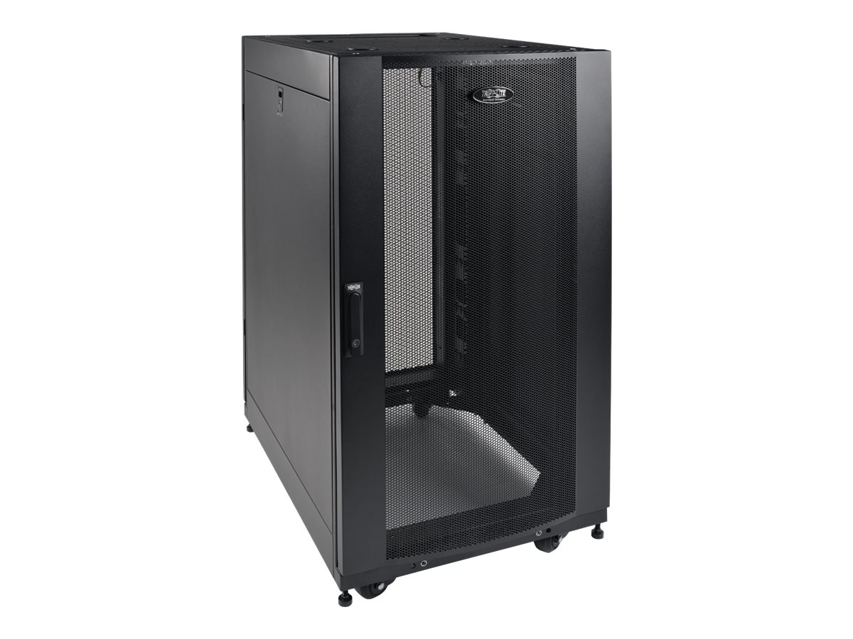 Tripp Lite SmartRack Shallow-Depth Rack Enclosure Cabinet w  Doors, Side Panels, Heavy-Duty Casters, 25U