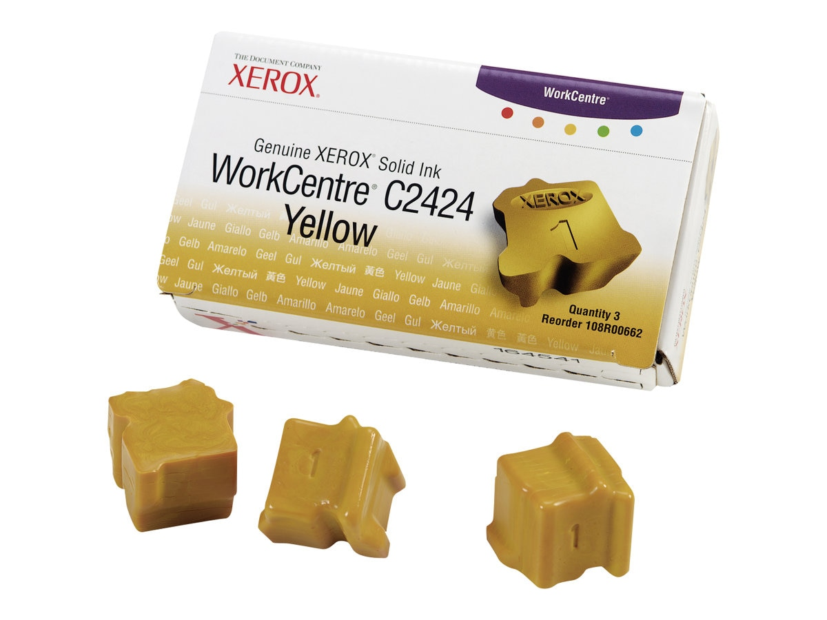 Xerox Yellow Solid Ink Sticks for WorkCentre C2424 Series (3-pack), 108R00662, 5741887, Toner and Imaging Components