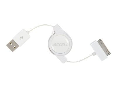 Accell 30pin to USB Retractable Apple Dock Connector Cable, White, 2.6ft