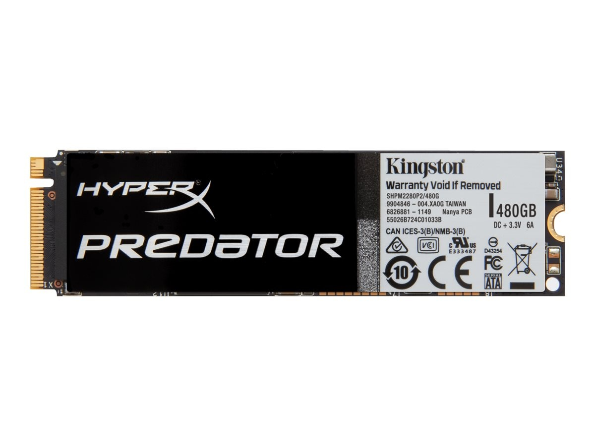 Kingston 480GB HyperX Predator PCIe Gen2 X4 M.2 Internal Solid State Drive, SHPM2280P2/480G, 19213305, Solid State Drives - Internal
