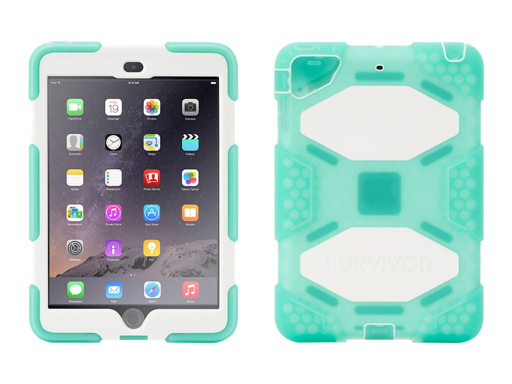 Griffin Survivor All-Terrain Case w  Stand for iPad mini 1 2 3, Green White, Touch ID Compatible