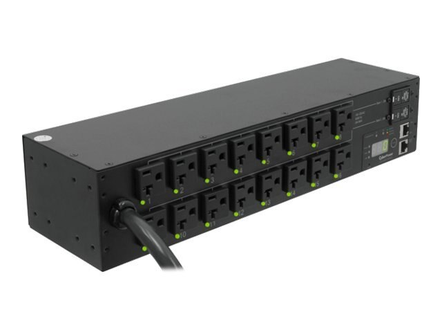 CyberPower Switched PDU 120V 30A 2U RM Digital Display SNMP L5-30P 10ft Cord (16) 5-20R Front, PDU30SWT16FNET