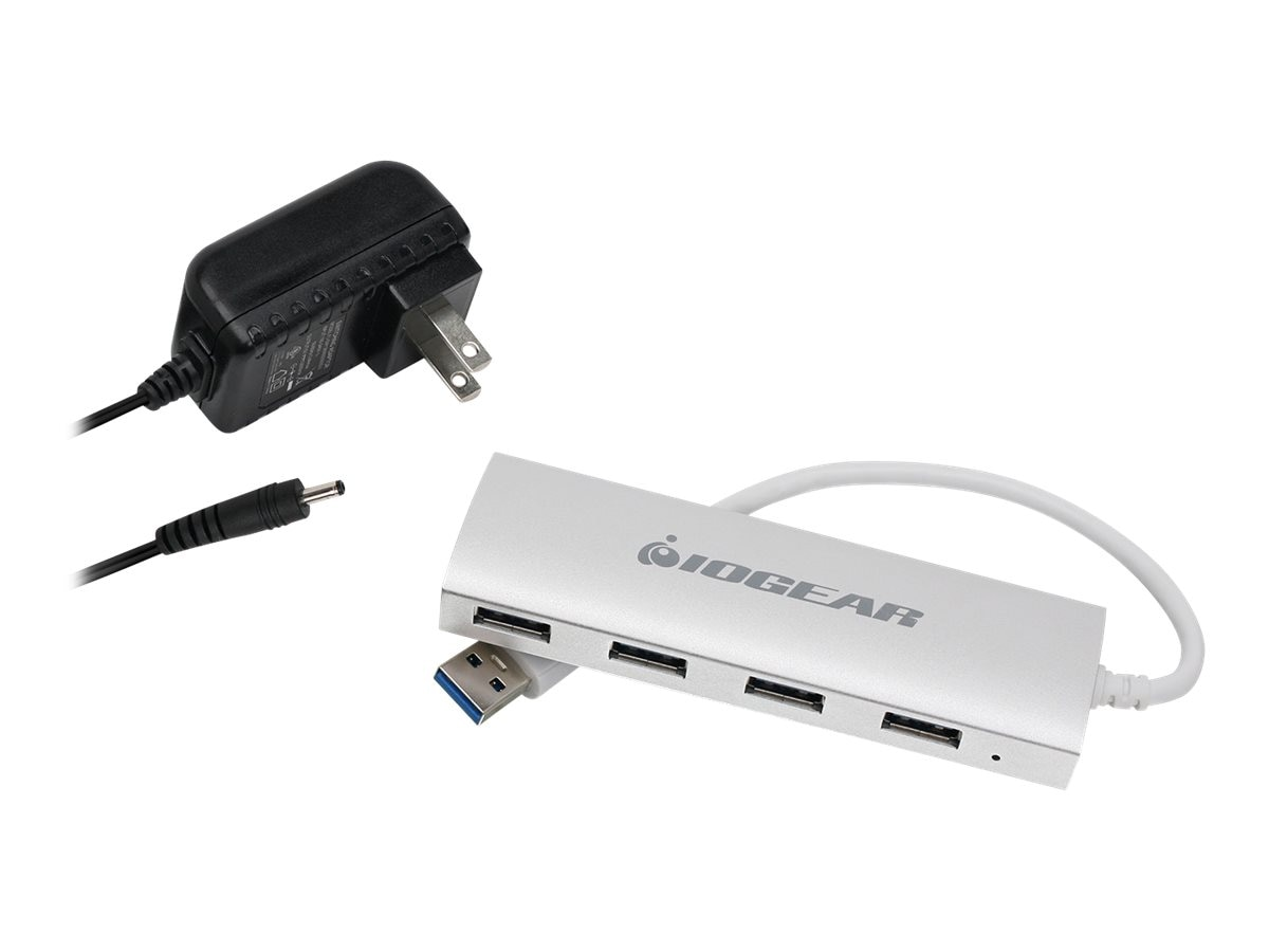 IOGEAR Aluminum USB 3.0 4-Port Hub with P S, GUH304P