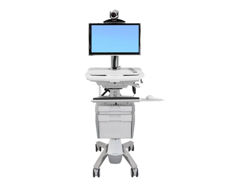 Ergotron StyleView Telepresence Cart, Single Monitor, Powered, SV42-53E1-1, 16336490, Computer Carts - Medical