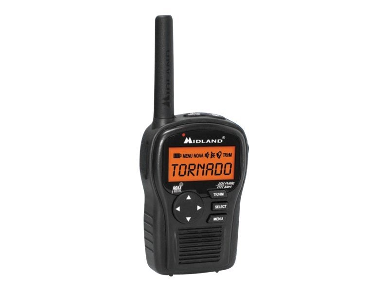 Midland Radio Handheld Weather Alert Radio w  AC Wall Adapter
