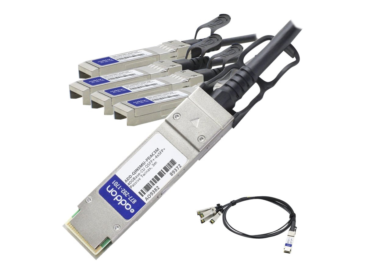 ACP-EP 40GBase-CU QSFP+ to 4xSFP+ Passive Twinax Direct Attach Cable, 3m, ADD-QINSMU-PDAC3M