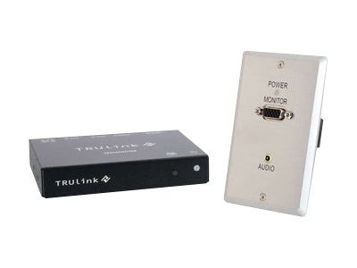 C2G TruLink VGA and 3.5mm Audio over UTP Box Transmitter to Wall Plate Receiver Kit, 29393, 13442271, Video Extenders & Splitters