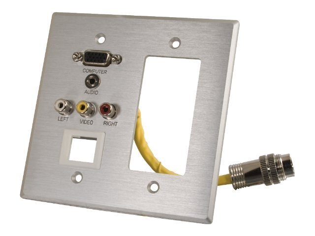 C2G RapidRun Wallplate, Double Gang, HD-15 3.5mm 3-RCA Keystone Jack, Decorative, 42346, 12048378, Premise Wiring Equipment