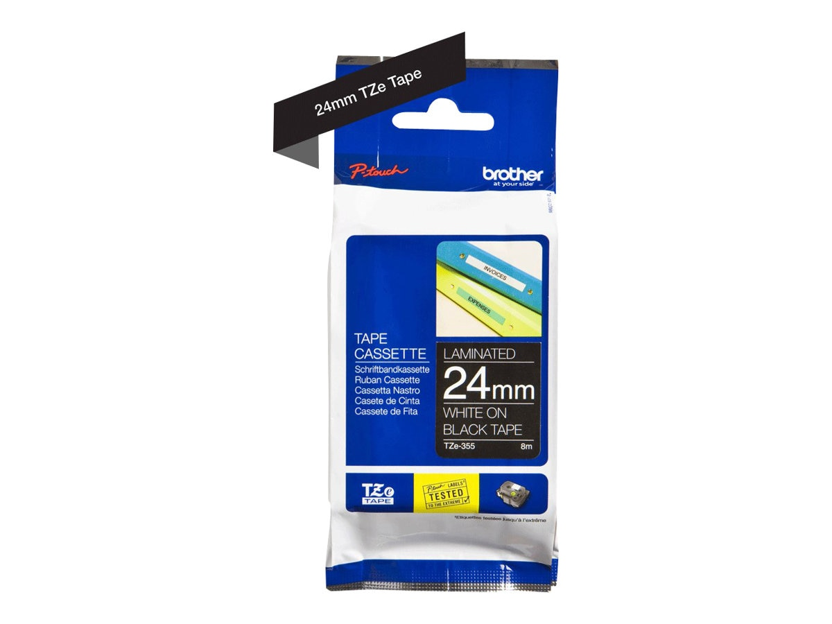 Brother 0.94 x 26.2' TZe355 White on Black Tape for P-Touch 8m, TZE-355