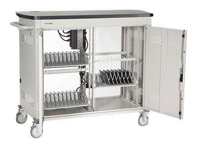 Black Box Double Frame Universal Computing Cart, 30 Small Device Configuration, Hinged Door, UCCDS30H, 16004487, Computer Carts