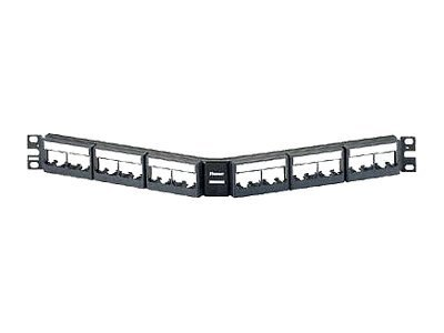Panduit 24-Port Angled Patch Panel for QuickNet Cassettes & Patch Panel Adapters, QAPP24BL