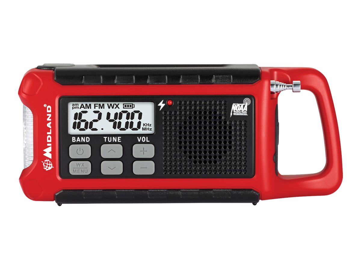 Midland Radio EMERGENCY COMPACT CRANK RADIO  PERPWEATHER ALERTS +SOLAR & BATT OPTION, ER210