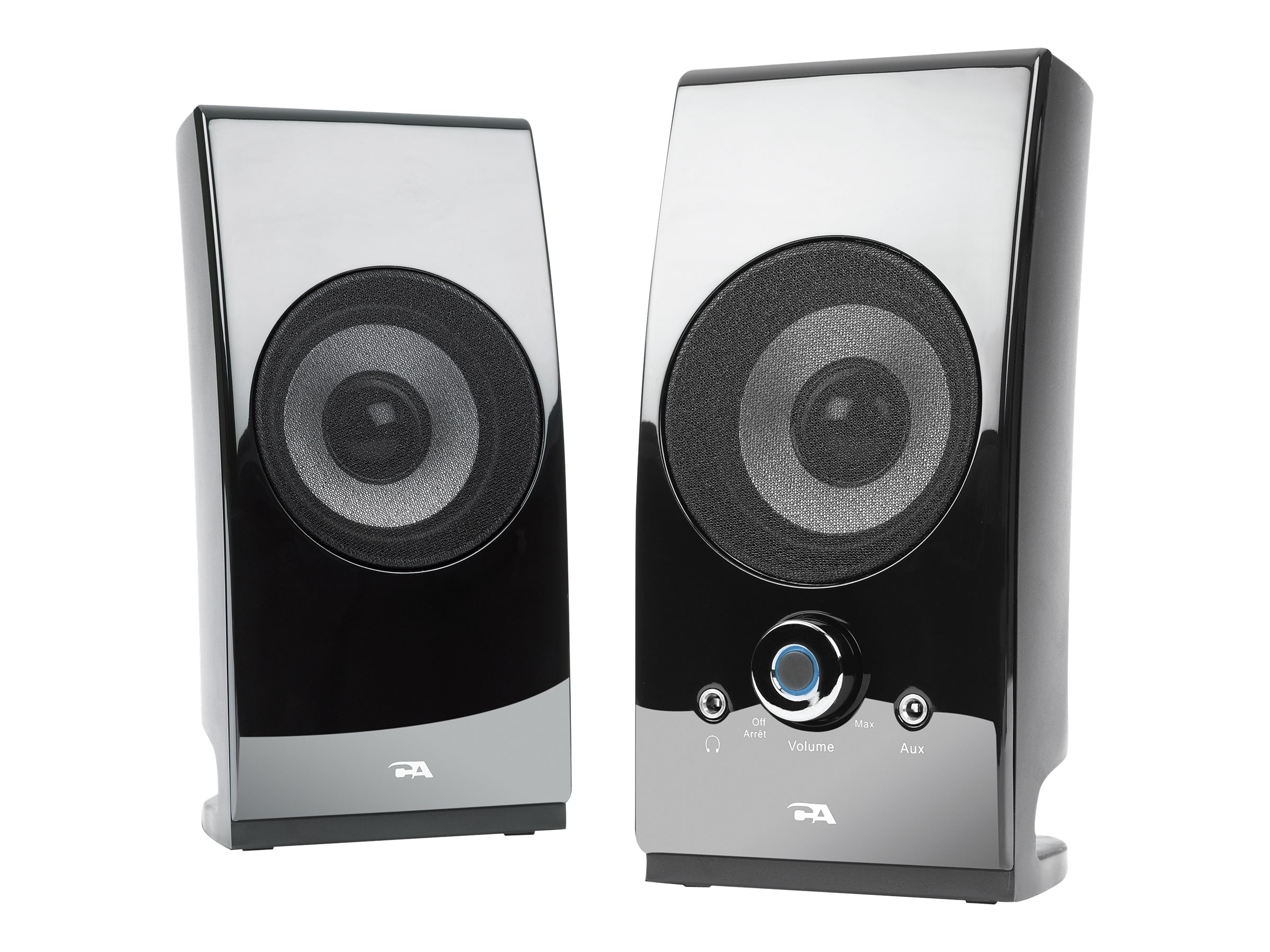 Cyber Acoustics 2.0 Power Speaker System w  Desktop Controls - Glossy Black, CA-2027