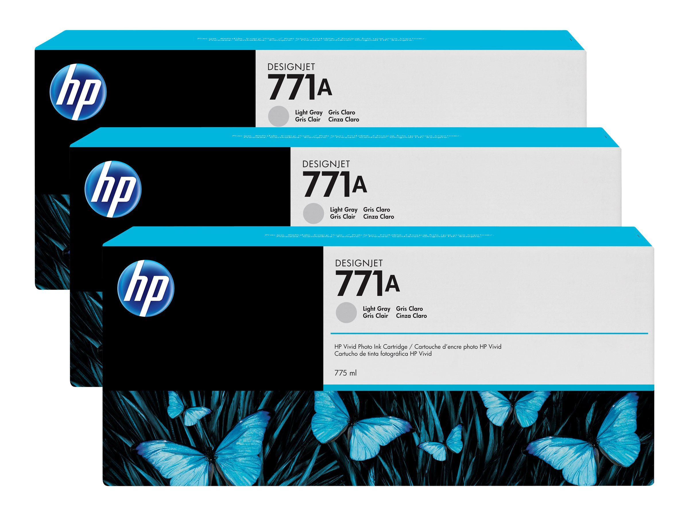 HP 771A 775-ml Light Gray Designjet Ink Cartridges (3-pack), B6Y46A