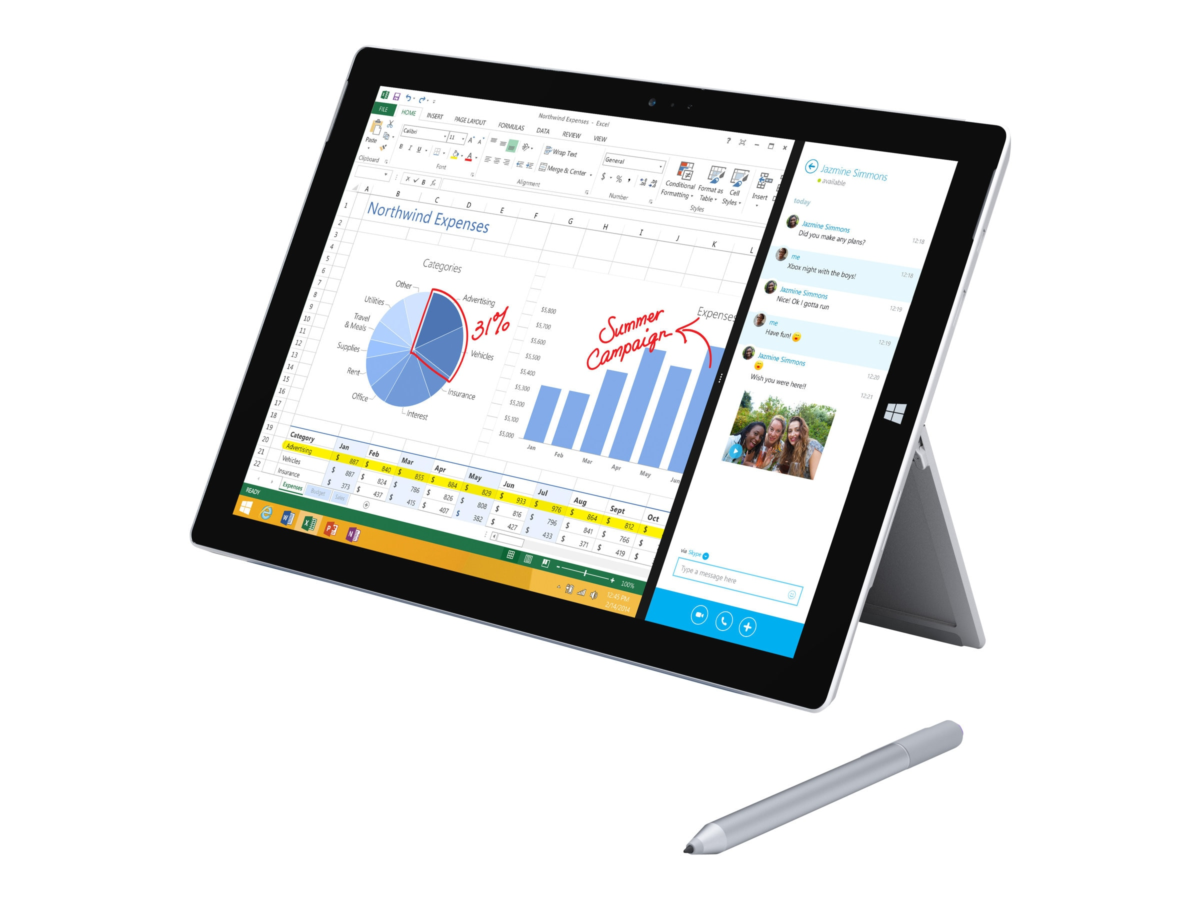 Scratch & Dent Microsoft Surface Pro 3 Tablet Core i5 8GB 256GB acabgn BT 2xWC 12 FHD+ MT W8.1P, QG2-00001