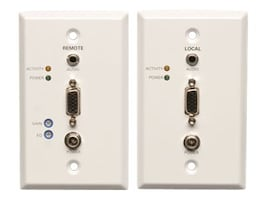 Tripp Lite VGA Audio over Cat5 Cat6 Extender Transmitter Receiver Wallplate Kit, EDID, TAA, B130-101A-WP-2, 27414406, Premise Wiring Equipment