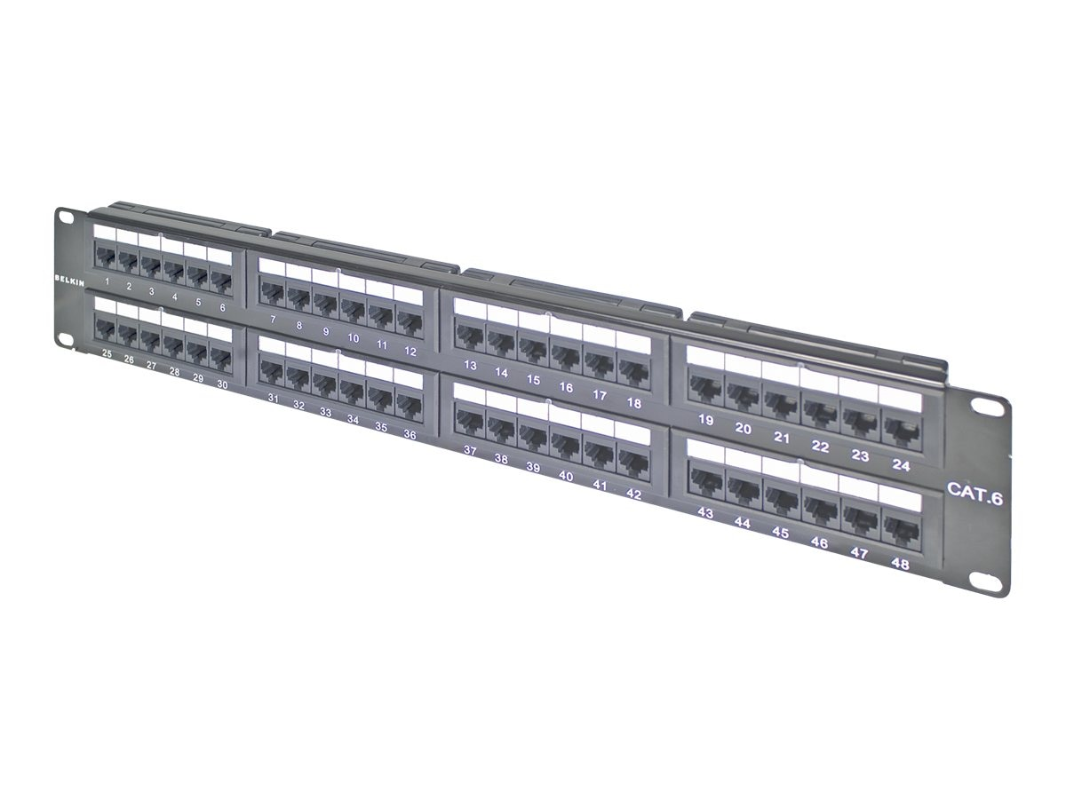 Belkin Cat6 Modular Patch Panel, 568AB, 48-port, F4P638-48-AB5, 5184275, Patch Panels