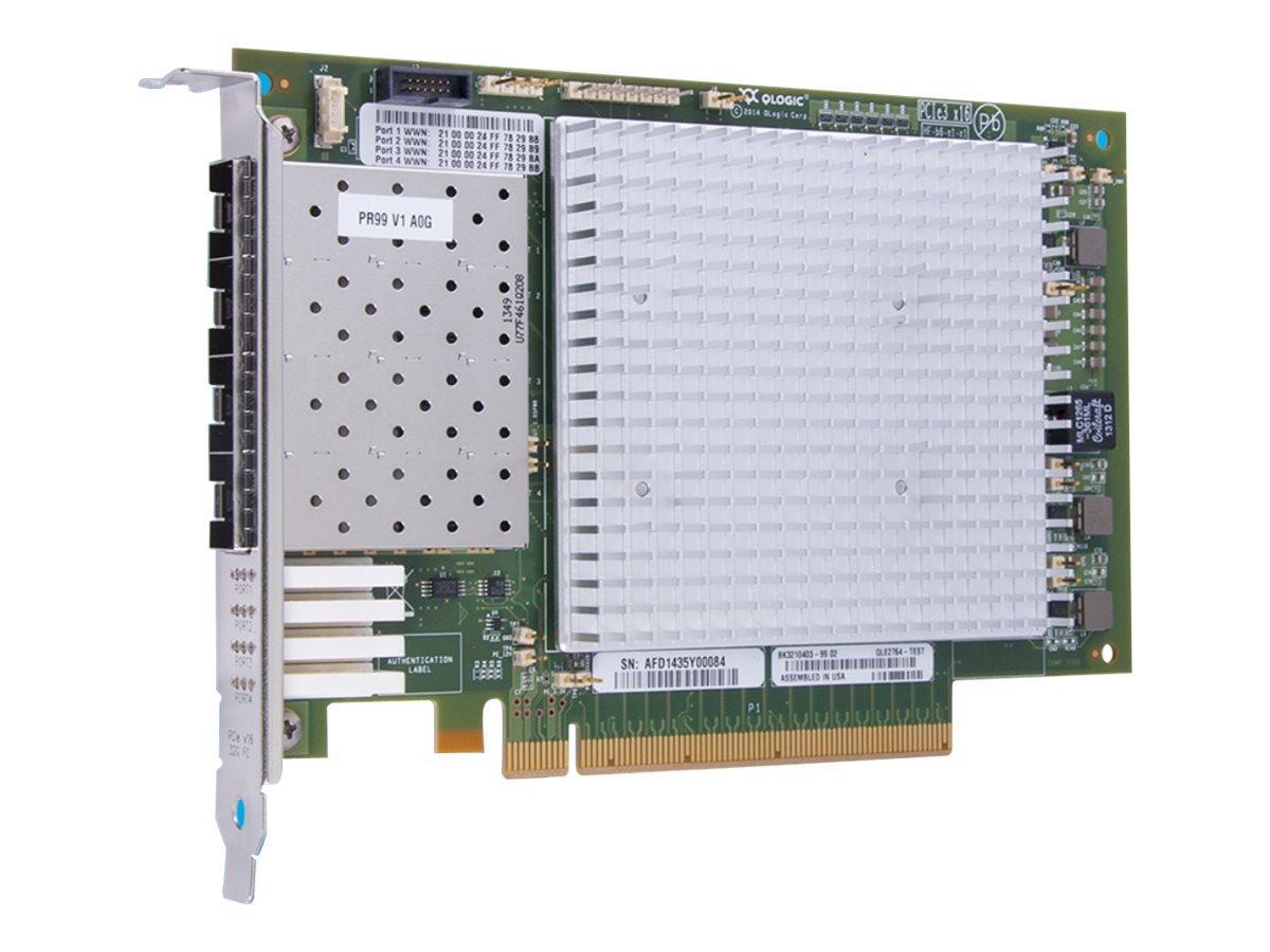 Qlogic 32GB Quad Port PCIe FC HBA with Low-Profile Bracket, QLE2764-SR-CK