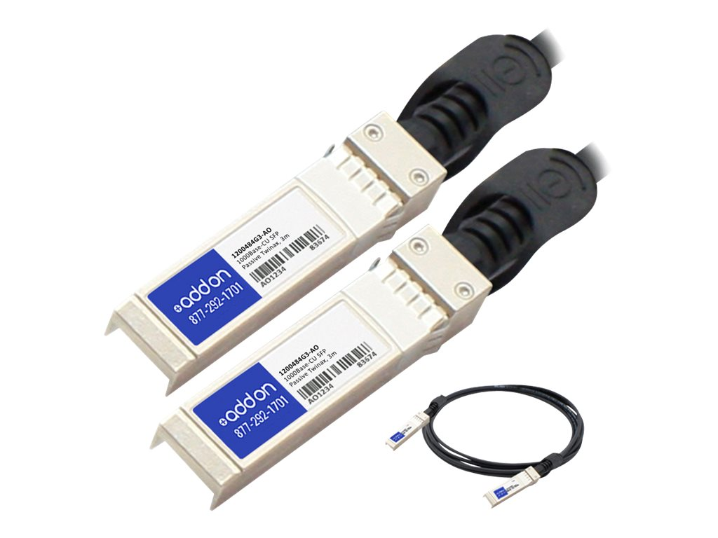 ACP-EP 1000Base-CU SFP to SFP Direct Attach Passive Twinax Cable for AdTran, 3m, 1200484G3-AO