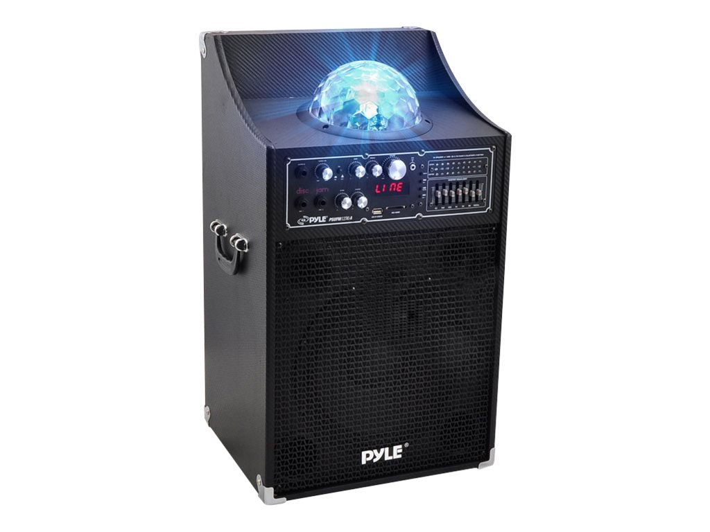 Pyle 1000-Watt Diso Jam Powered Two-Way PA Speaker System - DJ Lights, USB SD Card Reader, PSUFM1230A