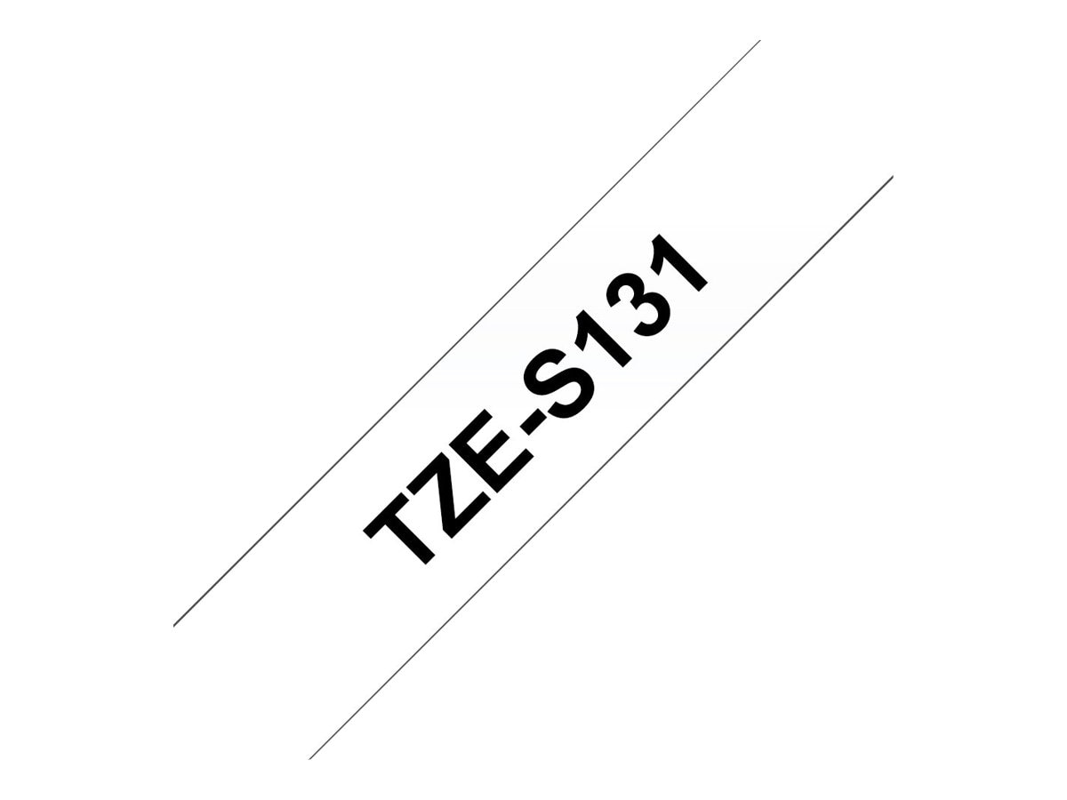 Brother 0.47 x 26' TZeS131 Black on Clear w  Extra Strength Adhesive Tape, TZE-S131