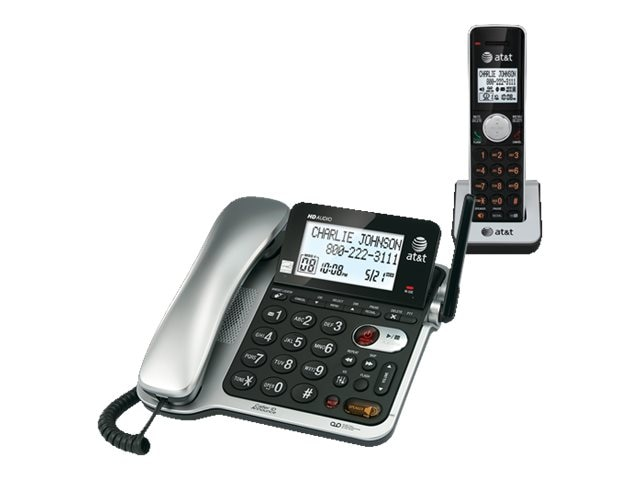 AT&T CL84102 Corded Cordless Phone with Announcing Caller ID, CL84102