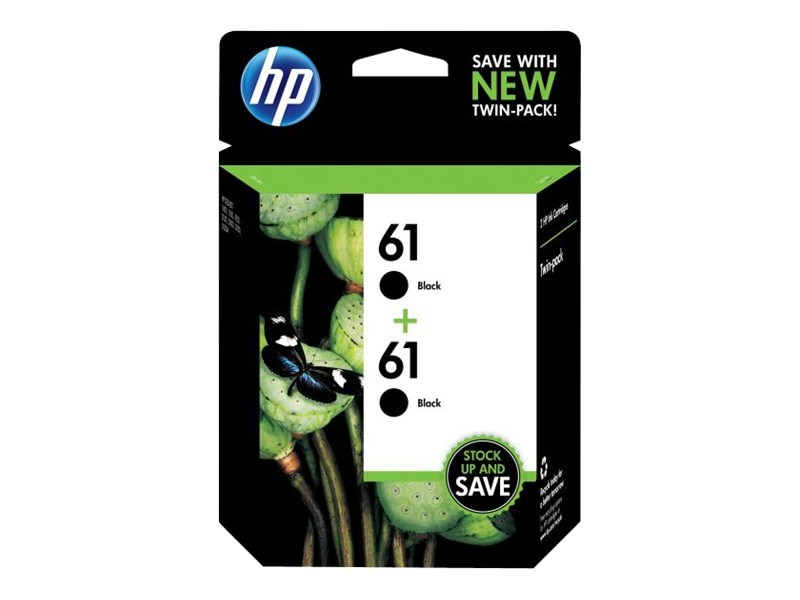 HP 61 (CZ073FN) 2-pack Black Original Ink Cartridges, CZ073FN#140, 12929546, Ink Cartridges & Ink Refill Kits