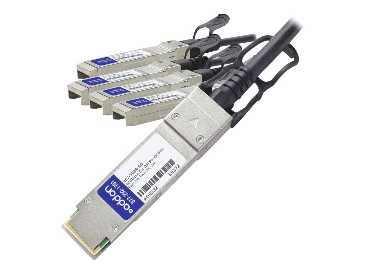 ACP-EP 40GBase QSFP+ to 4xSFP+ Copper Passive Cable for Dell, 1m, 462-3639-AO